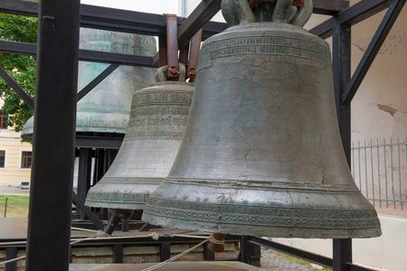 literally: Ancient bells in the Kremlin of Novgorod Velikiy (literally Novgorod the Great) Stock Photo
