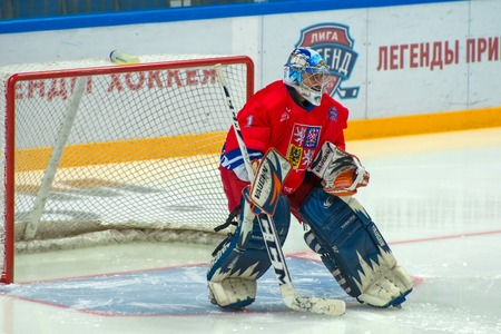 honored: MOSCOW - JANUARY 29, 2016: Goalkeeper Czech Republic Marcel Kucera (1) on hockey game Sweden vs Czech Republic on World Legends hockey league on January 29, 2015, in Moscow, Russia.
