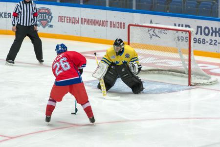 honored: MOSCOW - JANUARY 29, 2016: Forward of the Czech Republic Jiri Krasny (26) on hockey game Sweden vs Czech Republic on World Legends hockey league on January 29, 2015, in Moscow, Russia.