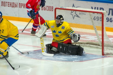 legends: MOSCOW - JANUARY 29, 2016: Swedish team Goalkeeper Rolf Wanhainen (1) on hockey game Sweden vs Czech Republic on World Legends hockey league on January 29, 2015, in Moscow, Russia.