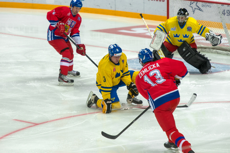 legends: MOSCOW - JANUARY 29, 2016: Czech Republic team forward Richard Zemlicka (13) on hockey game Sweden vs Czech Republic on World Legends hockey league on January 29, 2015, in Moscow, Russia. Editorial