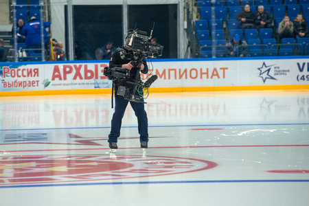 legends: MOSCOW - JANUARY 29, 2016: Cameras at hockey game Sweden vs Czech Republic on World Legends hockey league on January 29, 2015, in Moscow, Russia. Editorial
