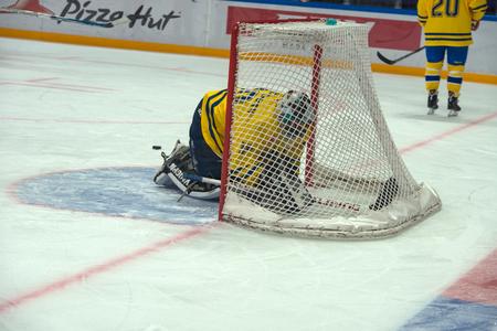 legends: Swedish team Goalkeeper Rolf Wanhainen 30 on hockey game Sweden vs Czech Republic on World Legends hockey league on January 29, 2015, in Moscow, Russia. Editorial