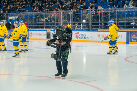 legends: Cameras at hockey game Sweden vs Czech Republic on World Legends hockey league on January 29, 2015, in Moscow, Russia.
