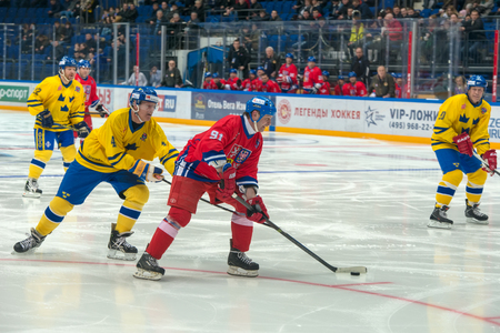 honored: Otakar Janecky 91 and Peter Andersson 4 on hockey game Sweden vs Czech Republic on World Legends hockey league on January 29, 2015, in Moscow, Russia.