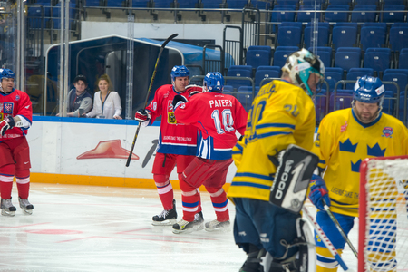 legends: Radek Topual 18 and Pavel Patera 10 on hockey game Sweden vs Czech Republic on World Legends hockey league on January 29, 2015, in Moscow, Russia. Editorial