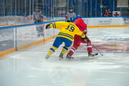 legends: Swedish team forward Magnus Roupe 19 on hockey game Sweden vs Czech Republic on World Legends hockey league on January 29, 2015, in Moscow, Russia.