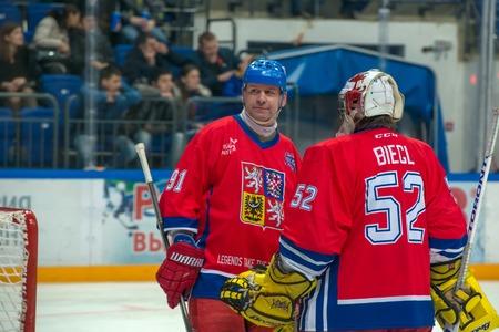 legends: Otakar Janecky 91 Radovan Biegl 52 on hockey game Sweden vs Czech Republic on World Legends hockey league on January 29, 2015, in Moscow, Russia.
