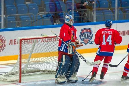 legends: Goalkeeper Czech Republic Marcel Kucera 1 on hockey game Sweden vs Czech Republic on World Legends hockey league on January 29, 2015, in Moscow, Russia. Editorial