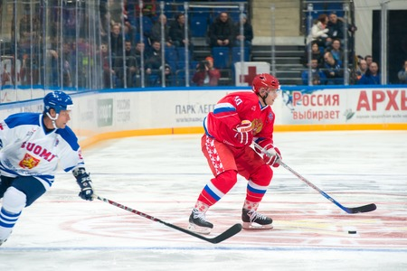 legends: MOSCOW - JANUARY 29, 2016: Forward the Russian National Team Pavel Bure (10) on hockey game Russia vs Finland on World Legends hockey league, in VTB Arena Ice Palace, Moscow, Russia