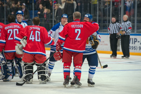 legends: MOSCOW - JANUARY 29, 2016: Russian and Finland National Team after a hockey game Russia vs Finland on World Legends hockey league, in VTB Arena Ice Palace, Moscow, Russia