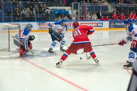 legends: MOSCOW - JANUARY 29, 2016: Forward the Russian National Team Sergei Fedorov (91) on hockey game Russia vs Finland on World Legends hockey league, in VTB Arena Ice Palace, Moscow, Russia