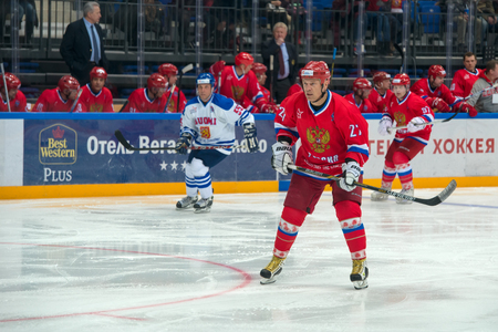vitaly: MOSCOW - JANUARY 29, 2016: Forward the Russian National Team, Vitaly Prokhorov (27) on hockey game Russia vs Finland on World Legends hockey league, in VTB Arena Ice Palace, Moscow, Russia Editorial