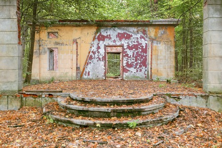 dilapidated wall: Ruined old house in the woods