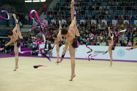 MOSCOW, RUSSIA - FEBRUARY 19, 2016: group exercises, the team of Greece on Rhythmic gymnastics Alina Cup Grand Prix Moscow - 2016 in Moscow sport palace Luzhniki, Russia
