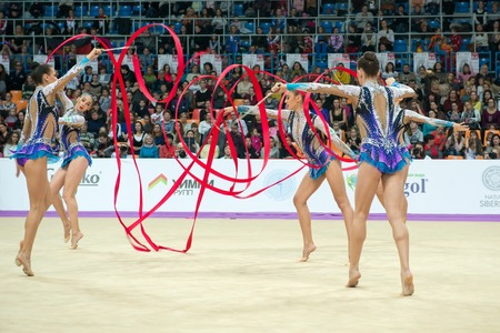 MOSCOW, RUSSIA - FEBRUARY 19, 2016: group exercises, the Israeli team on Rhythmic gymnastics Alina Cup Grand Prix Moscow - 2016 in Moscow sport palace Luzhniki, Russia Editorial