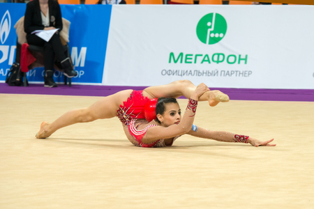 ashram: MOSCOW, RUSSIA - FEBRUARY 19, 2016: Linoy Ashram, Israel on Rhythmic gymnastics Alina Cup Grand Prix Moscow - 2016 in Moscow sport palace Luzhniki, Russia