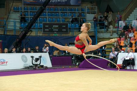 MOSCOW, RUSSIA - FEBRUARY 19, 2016: Olsson Josefine, Sweden on Rhythmic gymnastics Alina Cup Grand Prix Moscow - 2016 in Moscow sport palace Luzhniki, Russia