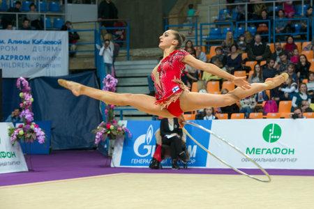 gymnastics equipment: MOSCOW, RUSSIA - FEBRUARY 19, 2016: Volkova Ekaterina, Finland on Rhythmic gymnastics Alina Cup Grand Prix Moscow - 2016 in Moscow sport palace Luzhniki, Russia