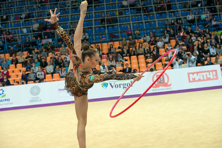MOSCOW, RUSSIA - FEBRUARY 19, 2016: Serdyukova Anastasiya, Uzbekistan on Rhythmic gymnastics Alina Cup Grand Prix Moscow - 2016 in Moscow sport palace Luzhniki, Russia