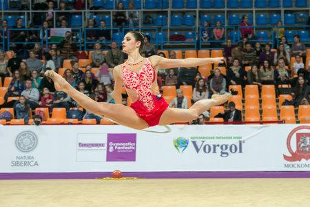MOSCOW, RUSSIA - FEBRUARY 19, 2016: Sebkova Anna, Czech Repablic on Rhythmic gymnastics Alina Cup Grand Prix Moscow - 2016 in Moscow sport palace Luzhniki, Russia