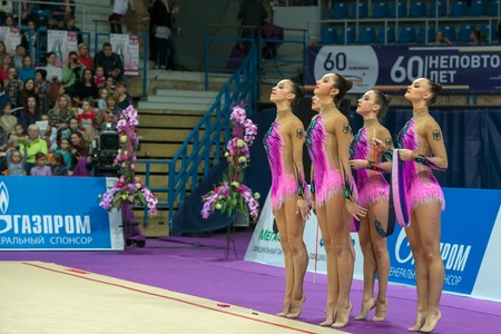 MOSCOW, RUSSIA - FEBRUARY 19, 2016: group exercises, the German team on Rhythmic gymnastics Alina Cup Grand Prix Moscow - 2016 in Moscow sport palace Luzhniki, Russia