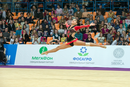 MOSCOW, RUSSIA - FEBRUARY 19, 2016: Piriyeva Zhala, Azerbaijan on Rhythmic gymnastics Alina Cup Grand Prix Moscow - 2016 in Moscow sport palace Luzhniki, Russia