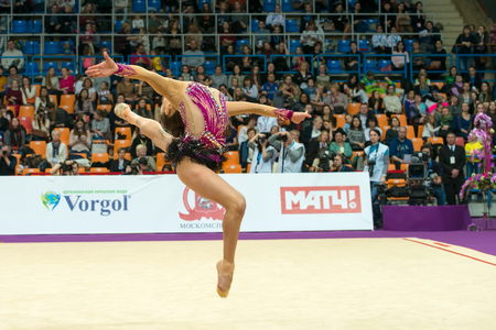 grand son: MOSCOW, RUSSIA - FEBRUARY 19, 2016: Son Yeon Jae, Korea on Rhythmic gymnastics Alina Cup Grand Prix Moscow - 2016 in Moscow sport palace Luzhniki, Russia