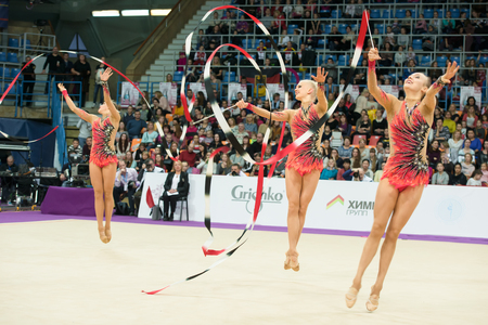 MOSCOW, RUSSIA - FEBRUARY 19, 2016: group exercises, the team of Finland on Rhythmic gymnastics Alina Cup Grand Prix Moscow - 2016 in Moscow sport palace Luzhniki, Russia