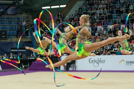 MOSCOW, RUSSIA - FEBRUARY 19, 2016: group exercises, the Russian team on Rhythmic gymnastics Alina Cup Grand Prix Moscow - 2016 in Moscow sport palace Luzhniki, Russia
