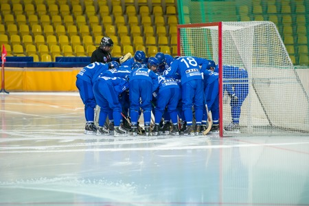 bandy: MOSCOW - FEBRUARY 26, 2016: Unidentified players of Dynamo Moscow in action during the Russian bandy league game Dynamo Moscow vs Zorky Krasnogorsk in sport palace Krilatskoe, Moscow, Russia. Dynamo won 9: 2