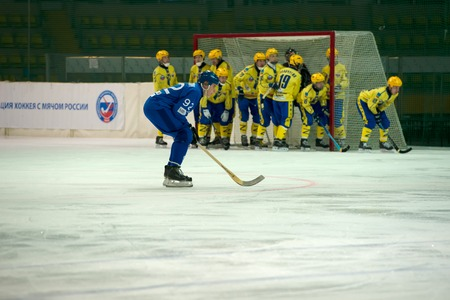 arbiter: MOSCOW - FEBRUARY 26, 2016: Anton Voronchihin 92 in action during the Russian bandy league game Dynamo Moscow vs Zorky Krasnogorsk in sport palace Krilatskoe, Moscow, Russia. Dynamo won 9: 2