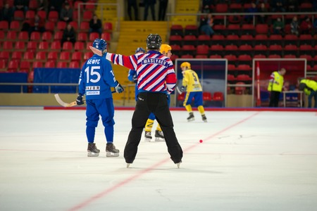 bandy: MOSCOW - FEBRUARY 26, 2016: Arbitrator in action during the Russian bandy league game Dynamo Moscow vs Zorky Krasnogorsk in sport palace Krilatskoe, Moscow, Russia. Dynamo won 9: 2
