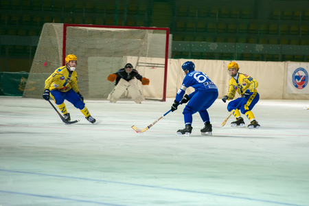 bandy: MOSCOW - FEBRUARY 26, 2016: Mikhail Sveshnikov 66 in action during the Russian bandy league game Dynamo Moscow vs Zorky Krasnogorsk in sport palace Krilatskoe, Moscow, Russia. Dynamo won 9: 2