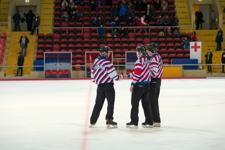 bandy: MOSCOW - FEBRUARY 26, 2016: the match referee in action during the Russian bandy league game Dynamo Moscow vs Zorky Krasnogorsk in sport palace Krilatskoe, Moscow, Russia. Dynamo won 9: 2