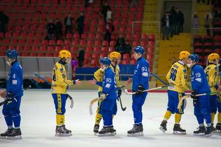 bandy: MOSCOW - FEBRUARY 26, 2016: players greeting the opponent at the end the Russian bandy league game Dynamo Moscow vs Sharp Krasnogorsk in sport palace Krilatskoe, Moscow, Russia. Dynamo won 9: 2 Editorial