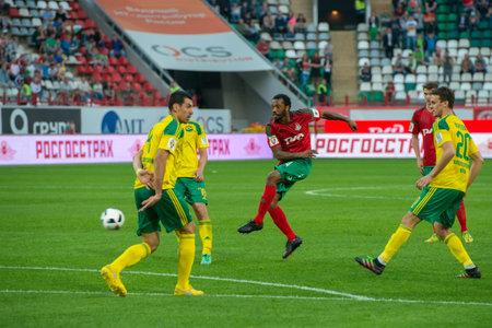 midfielder: MOSCOW - MAY 11, 2016: Midfielder Manuel Fernandes (4) on the soccer game Russian Premier League Lokomotiv (Moscow) vs Kuban (Krasnodar), the stadium Lokomotiv Moscow, Russia. Lokomotiv lost 0: 1 Editorial
