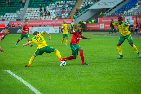 MOSCOW - MAY 11, 2016: Soccer players in action during the soccer game Russian Premier League Lokomotiv (Moscow) vs Kuban (Krasnodar), the stadium Lokomotiv Moscow, Russia. Lokomotiv lost 0: 1