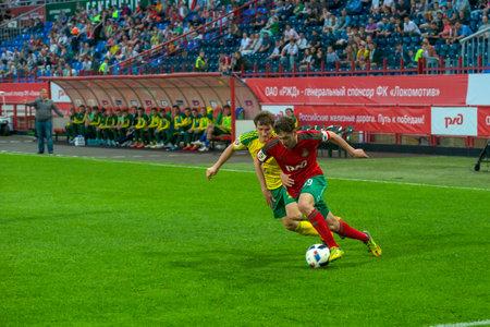 midfielder: MOSCOW - MAY 11, 2016: Midfielder Aleksei Miranchuk (59) on the soccer game Russian Premier League Lokomotiv (Moscow) vs Kuban (Krasnodar), the stadium Lokomotiv Moscow, Russia. Lokomotiv lost 0: 1 Editorial