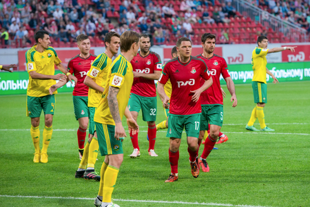 kuban: MOSCOW - MAY 11, 2016: Soccer players in action during the soccer game Russian Premier League Lokomotiv (Moscow) vs Kuban (Krasnodar), the stadium Lokomotiv Moscow, Russia. Lokomotiv lost 0: 1 Editorial