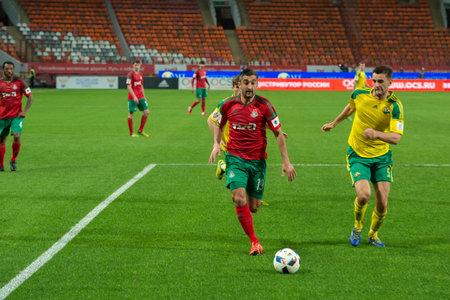 MOSCOW - MAY 11, 2016: Midfielder Alexander Samedov (19) on the soccer game Russian Premier League Lokomotiv (Moscow) vs Kuban (Krasnodar), the stadium Lokomotiv Moscow, Russia. Lokomotiv lost 0: 1