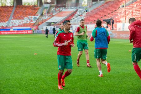 midfielder: MOSCOW - MAY 11, 2016: Midfielder Alexander Samedov (19) before the soccer game Russian Premier League Lokomotiv (Moscow) vs Kuban (Krasnodar), the stadium Lokomotiv Moscow, Russia. Lokomotiv lost 0: 1