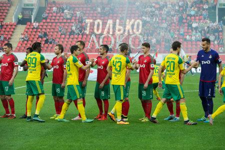 kuban: MOSCOW - MAY 11, 2016: Greeting rivals before the soccer game Russian Premier League Lokomotiv (Moscow) vs Kuban (Krasnodar), the stadium Lokomotiv Moscow, Russia. Lokomotiv lost 0: 1