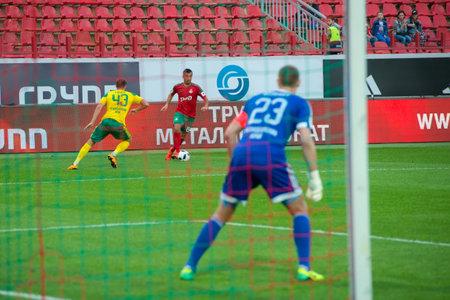 kuban: MOSCOW - MAY 11, 2016: Midfielder Alexander Samedov (19) on the soccer game Russian Premier League Lokomotiv (Moscow) vs Kuban (Krasnodar), the stadium Lokomotiv Moscow, Russia. Lokomotiv lost 0: 1 Editorial
