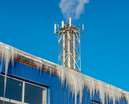 boiler house: Large icicles hanging from the roof of the boiler house