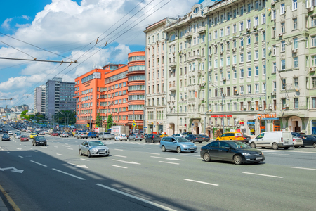 spasskaya: MOSCOW- APRIL 25, 2016: Cars on Sadovaya-Spasskaya street, Sadovoe ring in Moscow, Russia