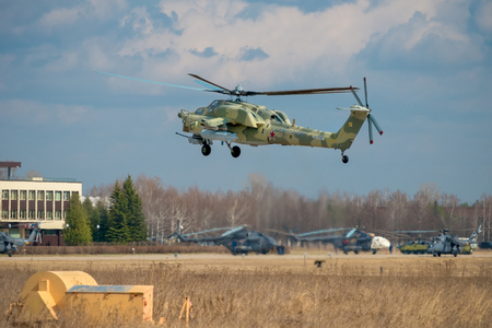 Russian Air Force Mi-28 Havoc attack helicopter climbing out of the Kubinka airbase to training flight for the Great Victory Day military parade