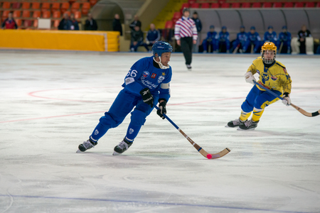 MOSCOW - FEBRUARY 26, 2016: Mikhail Sveshnikov 66 in action during the Russian bandy league game Dynamo Moscow vs Zorky Krasnogorsk in sport palace Krilatskoe, Moscow, Russia. Dynamo won 9: 2