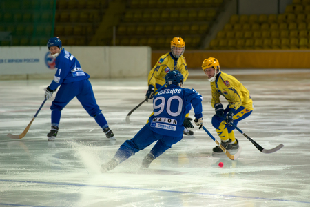 bandy: MOSCOW - FEBRUARY 26, 2016: Anton Shevtsov 90 in action during the Russian bandy league game Dynamo Moscow vs Zorky Krasnogorsk in sport palace Krilatskoe, Moscow, Russia. Dynamo won 9: 2 Editorial