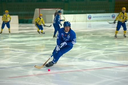 bandy: MOSCOW - FEBRUARY 26, 2016: Sergey Shaburov 18 in action during the Russian bandy league game Dynamo Moscow vs Zorky Krasnogorsk in sport palace Krilatskoe, Moscow, Russia. Dynamo won 9: 2